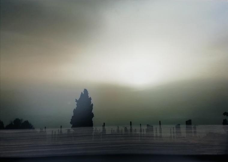 """""""En la costa VI"""" Fotografía sobre papel con intervención pictórica. 70 x 42 cm"""